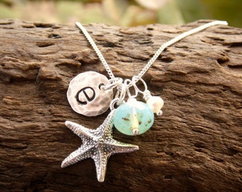 Initial Necklace with Starfish Charm Stamped Sterling Silver