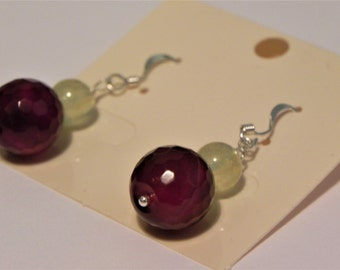Dark red agate and pale green prehnite gemstone drop sterling silver earrings