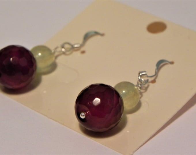 Dark red agate and pale green prehnite gemstone drop sterling silver earrings