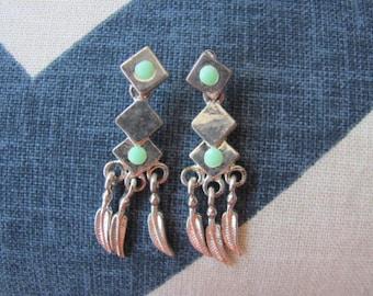 Silver Feather Earrings,  Geometric Navajo Style, Turquoise Drop Earrings, Pierced Earrings