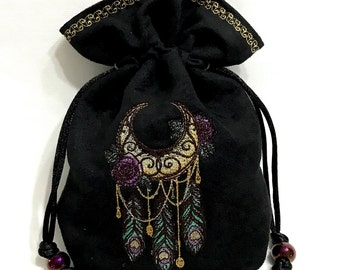 MOONLIGHT DREAMCATCHER - Faux Suede Embroidered Pouch for Dice, Runes, Tarot Cards, LARP accessory