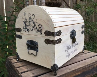 Wedding Card Box - 13.75''x 10.25'' x 11.25'' - Wedding Card Box With Lock - Wedding Chest - Wedding Trunk - Personalized Wedding Box