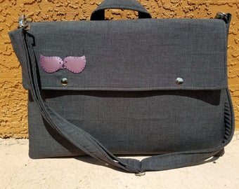 Laptop bag-Macbook,MS SurfacePro,LenovoYoga,Sumsung chromebook,Acer, Hp, ASUS-padded-POCKETS-Heather Grey
