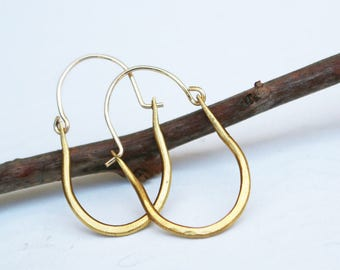 hammered antique brass hoops earrings with gold filled ear wires gift for her minimalist jewelry