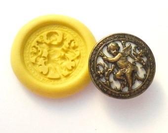 Antique button mold- Cherub, Cupid, flexible silicone push mold, PMC, Art Clay Silver, fimo, Sculpey, resin, ceramic, jewelry mold V6