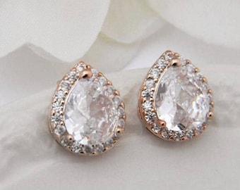 Rose Gold Earrings, Rose Gold Stud Earrings, Bridesmaid Jewelry, Bridesmaid Gift, Wedding Jewelry For Brides, Bridesmaid Earrings,Gift