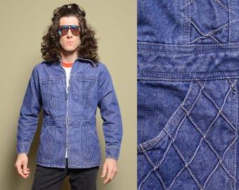 vintage 70s denim jacket shirt-jac zip up disco work jean jacket butterfly collar 1970 diamond pattern denim medium M/L belt back