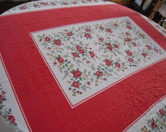Vintage Tablecloth 1950's Table Linens Kitchen and Dining