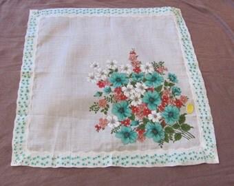 Hankie Beautiful White Green Floral Cotton Vintage Hankie Handkerchief - New Unused