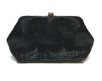 Vintage MAGID 1950s Black hand beaded and formal cocktail clutch purse, made in Japan, elegant evening wear holiday prom