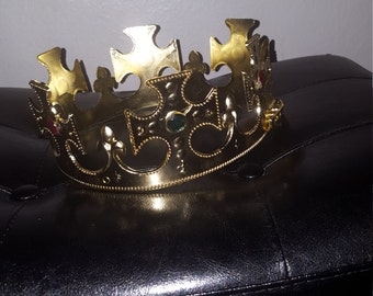 GOLD  or SILVER  jeweled p LASTIC crown centerpiece 10 inch