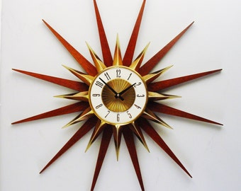 Starburst Wall Clock by Elgin, Atomic Era Sunburst Clock 60s Mod