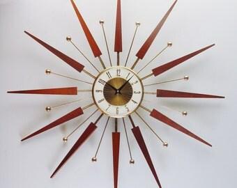 Starburst Clock, Mid century Starburst Wall Clock by Elgin. 1960s Clock, Midcentury Sunburst Atomic Design