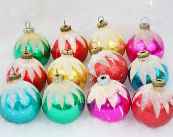Vintage Multi Colored Christmas Tree Ornaments Frosted Snow Cap Ice Glass One Dozen Set of 12 Pink Red Gold Green Aqua 1950's