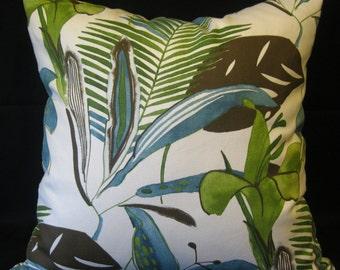green blue brown cream flower  pillow cover 24 X 24