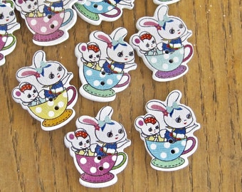 Bunny Mouse TeaCup Easter Mixed Wood Buttons Lot of 10