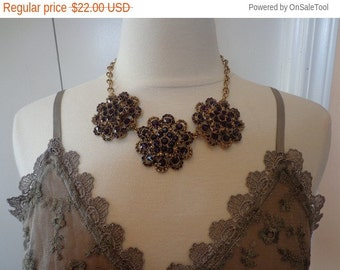 15 off Sale SALE - Vintage New Old Stock Antique Gold Tone Rhinestone Statement Necklace