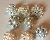 CYBER WEEK SALE Destash Craft Lot of Vintage and Salvaged Pearl Beaded Cluster Bob Earrings
