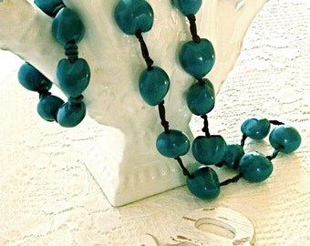 Clunky Chunky Wooden Bead Necklace and  Bracelet Deep Turquoise Hand tied Black Satin Ribbon