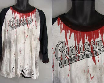 ooak ZOMBIE GROOM. pRoPeRty oF ThE bRiDe. Zombie Wedding Shirt. Bloody Halloween Costume. Distressed Shirt. ZOmbie Apocalypse. Adult Size XL