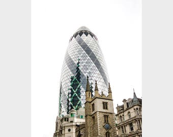 "London photography, London art print, The Gherkin, fine art photography, London home decor ""London, Old and New"""