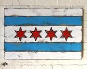 Chicago Flag Wood City Chicago Flag Wall Art Wooden Chicago Flag Wood Flag Chicago Art Handmade Chicago Rustic Chicago Flag Art Windy City