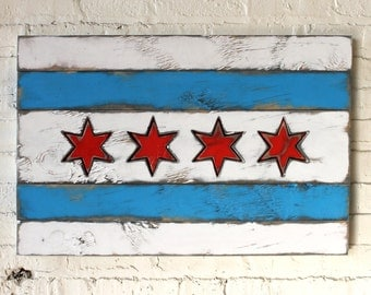 Wooden Chicago Flag City Chicago Flag Wall Art Chicago Flag Wood