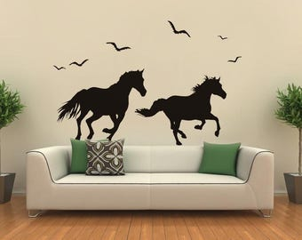 Running Horses Decal- Animals Decal, Vinyl Wall Sticker, Decals for Living Room, Horse Stickers, Flying Birds Vinyl Decalpt0300