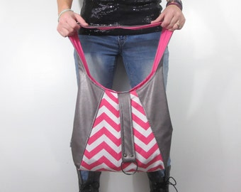 silver leather and pink purse hobo bag. Breast cancer awareness fabric choices. Pink ribbon support. Large shoulder purse.