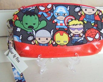 Kawaii Avengers Fabric Zippered Wristlet Clutch Purse / Makeup Bag / Geek Chic