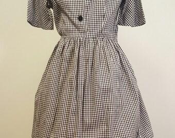 Vintage 1950s Cotton Day Dress. Black and White Gingham. Cross Stitch Skirt Border. Medium to Med Large