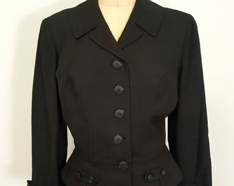 SALE Vintage Womens 1940s to Early 50s Suit Jacket. Neiman Marcus. Structured. Black.
