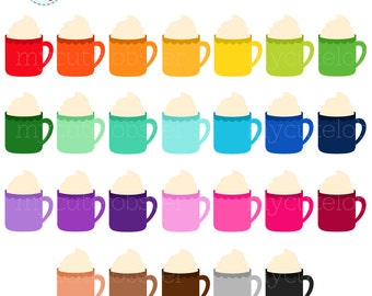 Rainbow Hot Chocolate Clipart Set - clip art of hot chocolate mugs, whipped cream - personal use, small commercial use, instant download