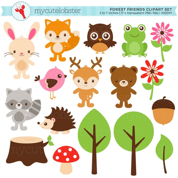 Forest Friends Clipart Set - clip art set of animals, fox, hedgehog, forest, trees - personal use, small commercial use, instant download