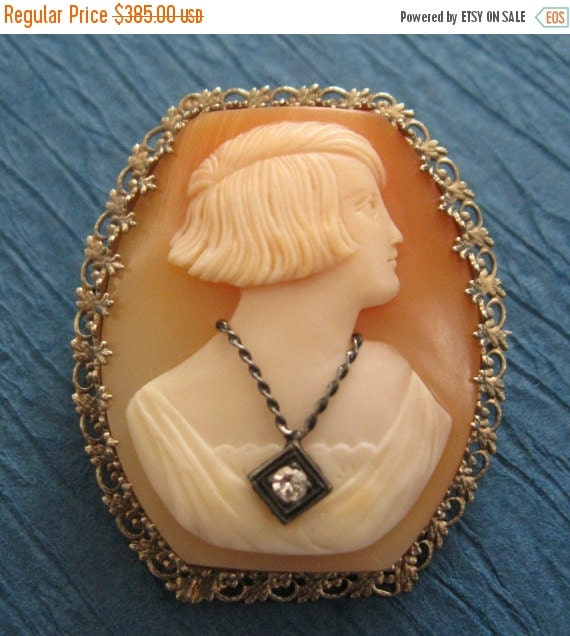 On Sale Art Deco Cameo Brooch 14 Karat  White Gold With Diamond  Estate Hand Carved Deco Lady Circa 1920