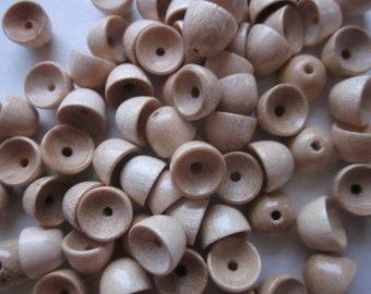 Tan Wood Bead Caps 10mm 12 Bead Caps
