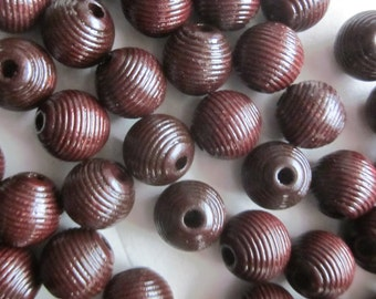 12mm Brown Wood Beads 14 Beads