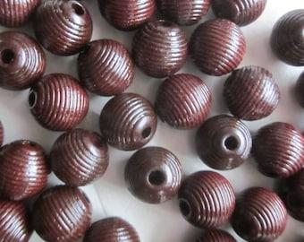 12mm Brown Wood Beads 14 Beads
