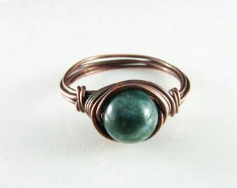 Wire Wrapped Ring Fancy Jasper Ring Copper Ring Wire Wrapped Jewelry Green Jasper Ring Copper Jewelry
