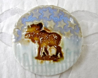 Moose Brooch, Moose Pin, Aqua bronze Brooch, porcelain pin, pottery brooch, ceramic brooch, Canadiana, Moose Jewelry, Christmas Jewelry