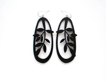 Black Long Plywood floral earrings