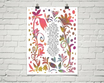 Listen to the Children 18x24 Art Poster Giclee Typography Floral Lisa Weedn