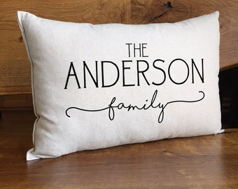 Personalized Family Pillow, Family Name Pillow, Housewarming Gift, Cotton Linen Pillow, Personalized Home Decor, Family Wedding Gift