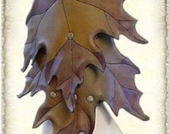 """Custom made, Leather armguard """"Maple leaf"""""""