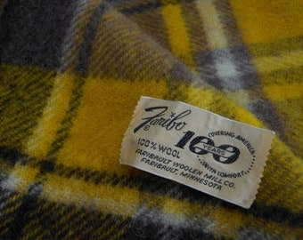 FARIBO Wool Throw Brown Gold Plaid 1960s 100 Yr Anniversary Excellent