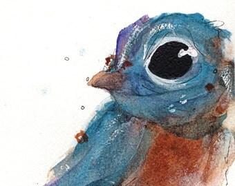 Little Bluebird Art Print, Charming Bluebird Art Print, 8 x 10 Bird Art