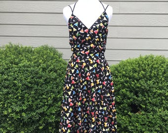 PREORDER - Day at the Vineyard Dress in Martini Time Print - Made in the USA - Vintage Retro Inspired - Circle Skirt - Pinup Rockabilly