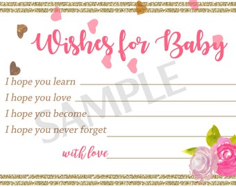 Wishes for baby pink, child adoption party favor Black and white stripe,Baby Shower idea,Unique Baby Shower cards, Activity Game.  Set of 30