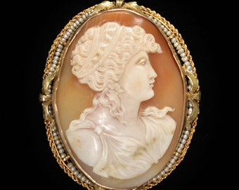 """Antique 10K Cameo & Seed Pearl Pendant/Brooch LARGE 2.3"""" Long"""