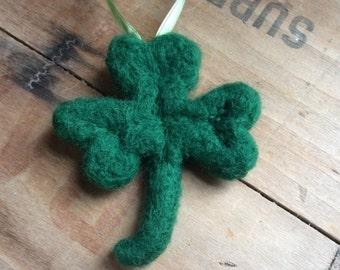 Needle Felted Green Shamrock Ornament